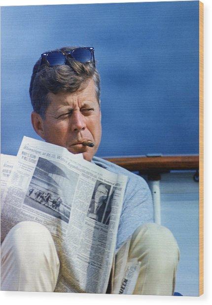 President John Kennedy Smoking A Cigar Wood Print