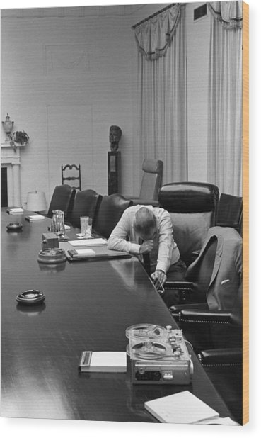 President Johnson Appears Agonized Wood Print by Everett