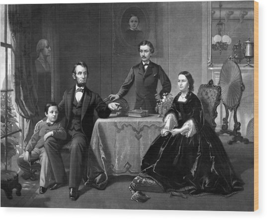 President Lincoln And His Family  Wood Print