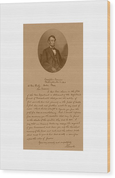 President Lincoln's Letter To Mrs. Bixby Wood Print