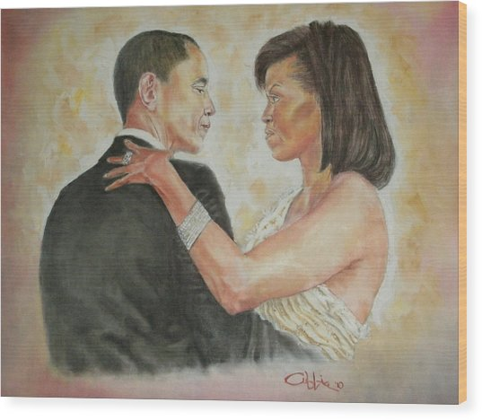 President Obama And First Lady Wood Print