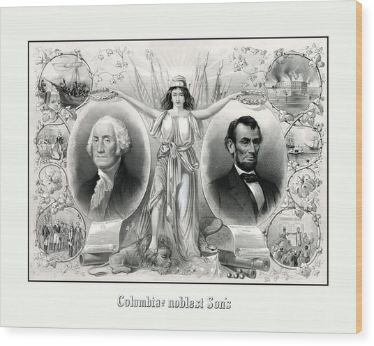 Presidents Washington And Lincoln Wood Print