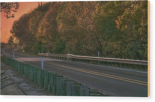 Pretty As The Road Wood Print by Philip A Swiderski Jr