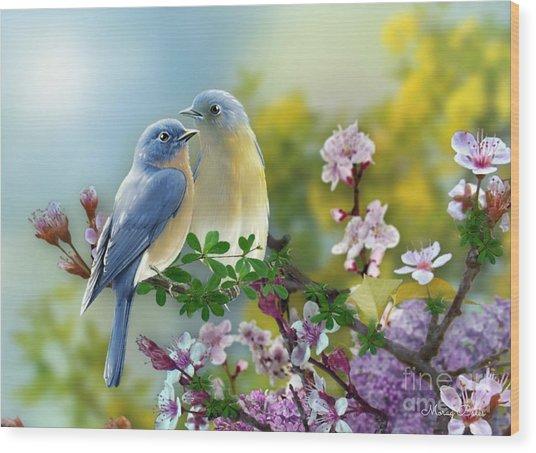 Pretty Blue Birds Wood Print