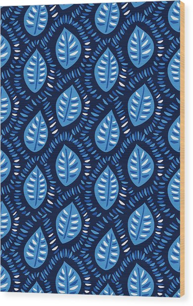 Pretty Decorative Blue Leaves Pattern Wood Print