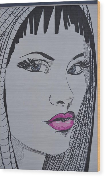 Pretty In Pink Lips Wood Print