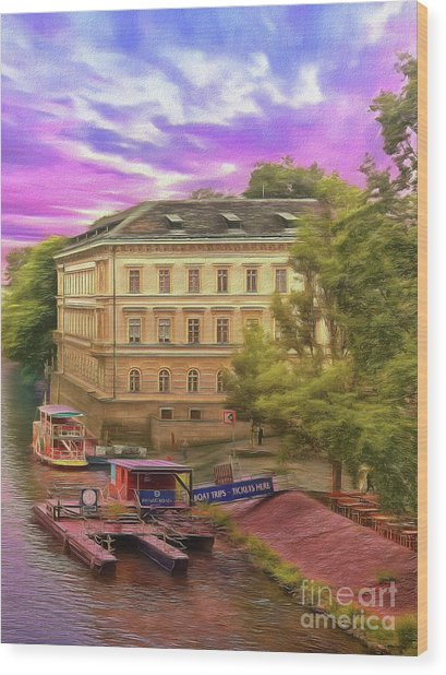 Pretty On The River - Prague Wood Print