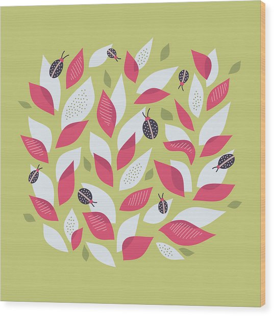 Pretty Plant With White Pink Leaves And Ladybugs Wood Print