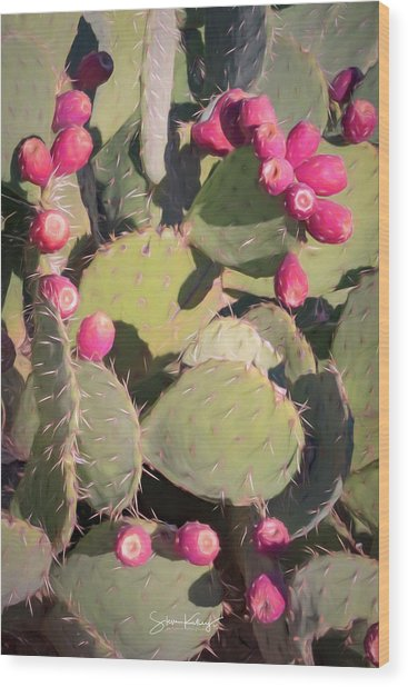 Prickly Pear Cactus Wood Print