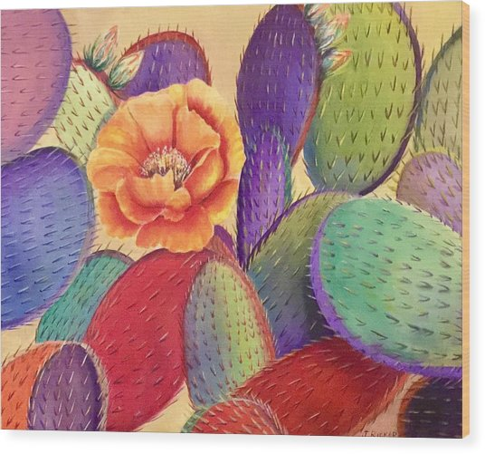 Prickly Rose Garden Wood Print