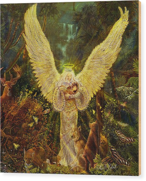 Priestess Of The Woods-angel Tarot Card Wood Print