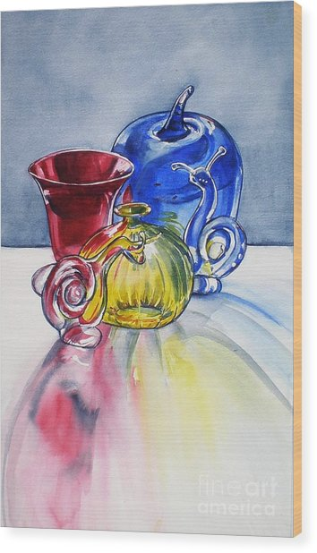 Primary Glass Wood Print by Jane Loveall