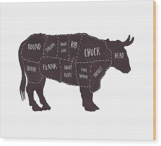 Primitive Butcher Shop Beef Cuts Chart T-shirt Wood Print