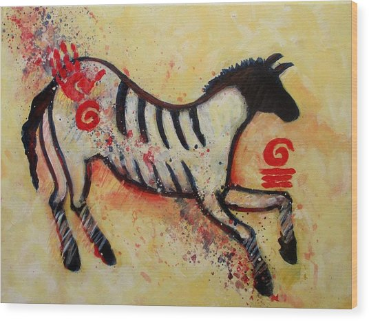 Primitive Little Horse Wood Print