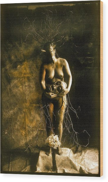 Primitive Woman Holding Mask Wood Print