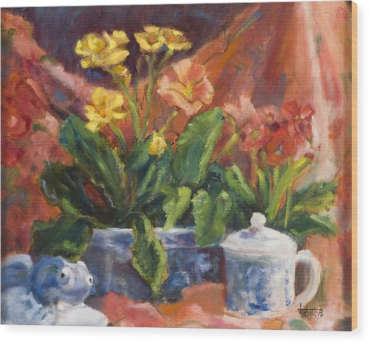 Primroses And Blue China Wood Print by Jimmie Trotter