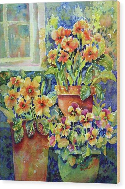 Primroses And Pansies II Wood Print