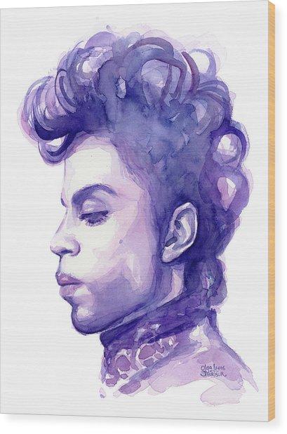 Prince Musician Watercolor Portrait Wood Print