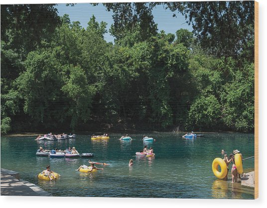 Prince Solms Park On The Comal River In New Braunfels Wood Print