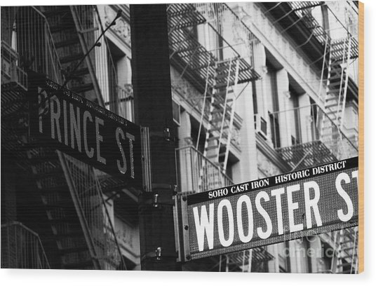 Prince St Wooster St Wood Print