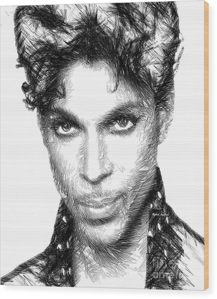Prince - Tribute Sketch In Black And White Wood Print