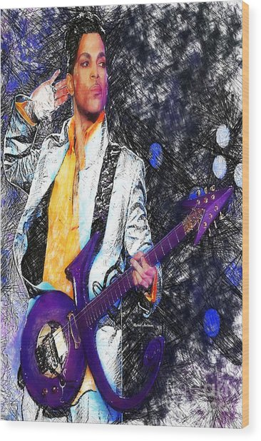 Prince - Tribute With Guitar Wood Print