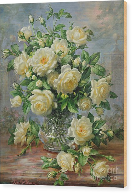 Princess Diana Roses In A Cut Glass Vase Wood Print