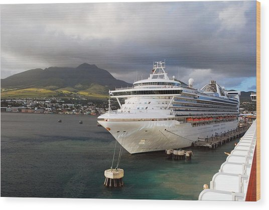 Princess Emerald Docked At Barbados Wood Print