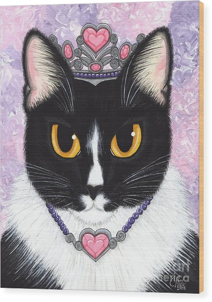 Princess Fiona -tuxedo Cat Wood Print
