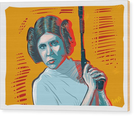 Wood Print featuring the digital art Princess Leia by Antonio Romero