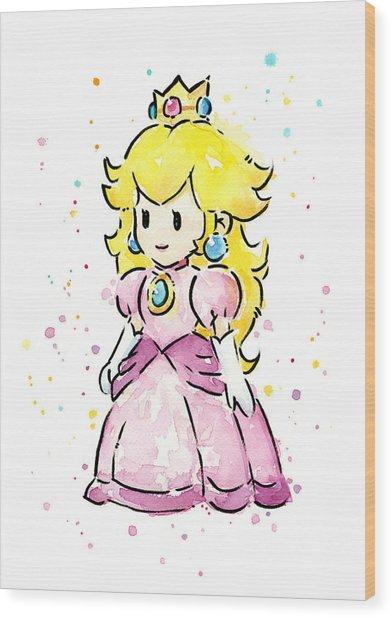 Princess Peach Watercolor Wood Print