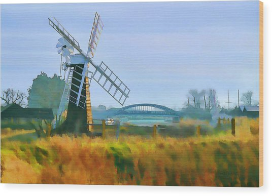 Wood Print featuring the photograph Priory Windmill by Valerie Anne Kelly