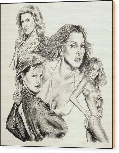 Priscilla Presley Montage Wood Print