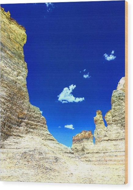 Pristine Sky Meets Historic Rocks Wood Print