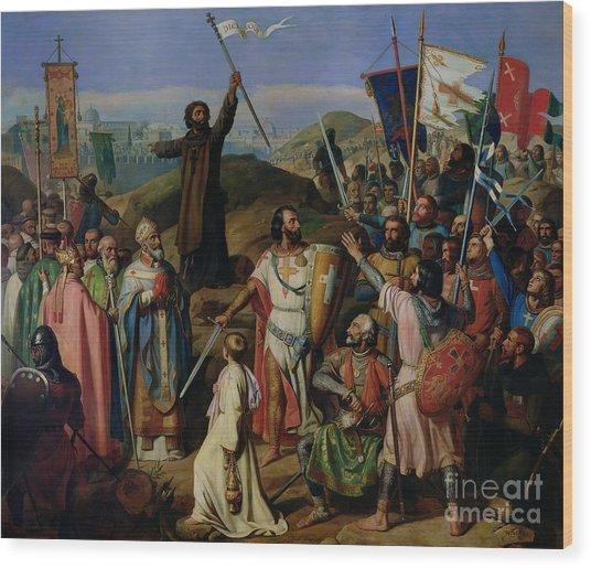 Procession Of Crusaders Around Jerusalem Wood Print