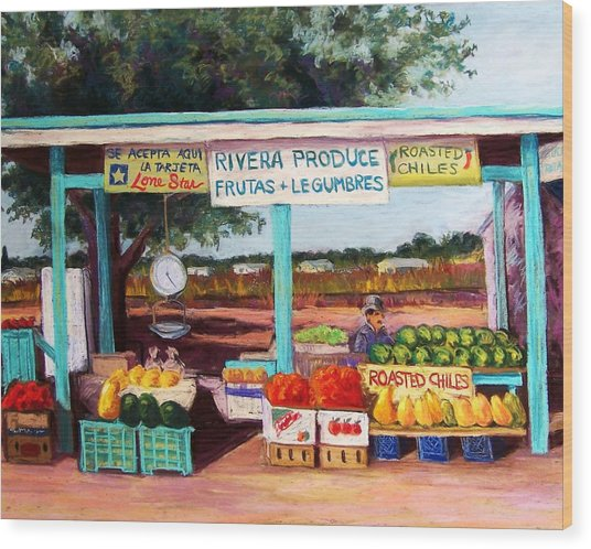 Produce Stand Wood Print by Candy Mayer