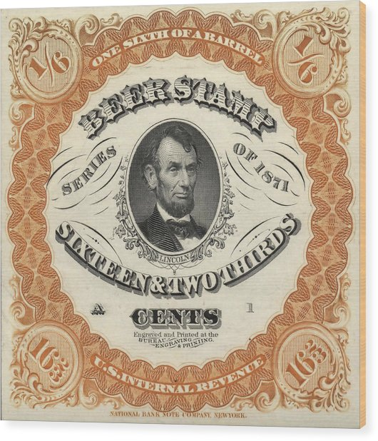 Prohibition Lincoln Beer Stamp Wood Print