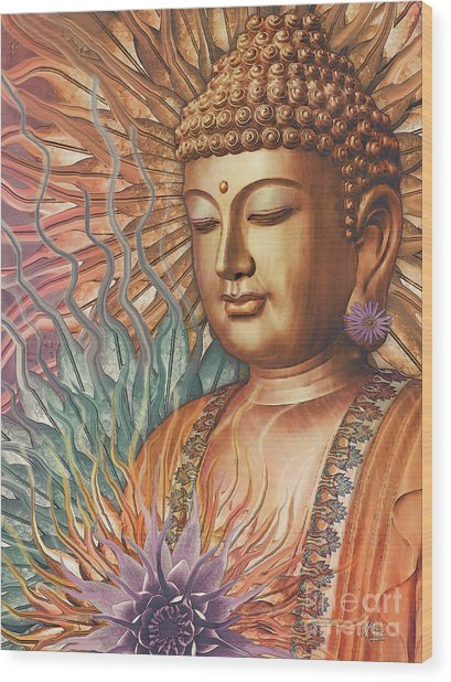 Proliferation Of Peace - Buddha Art By Christopher Beikmann Wood Print