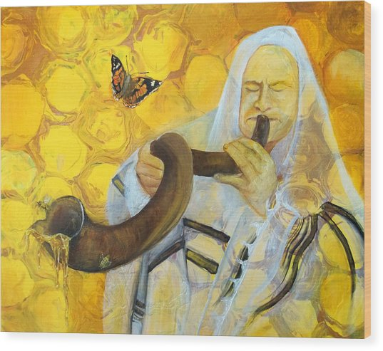 Prophetic Message Sketch Painting 9 Honey Dripping From The Shofar Wood Print