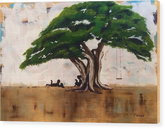Wood Print featuring the painting Protected by Patti Ferron
