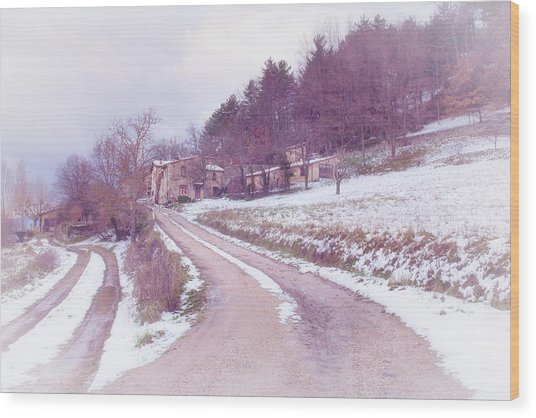 Provencal Village In Snow Wood Print