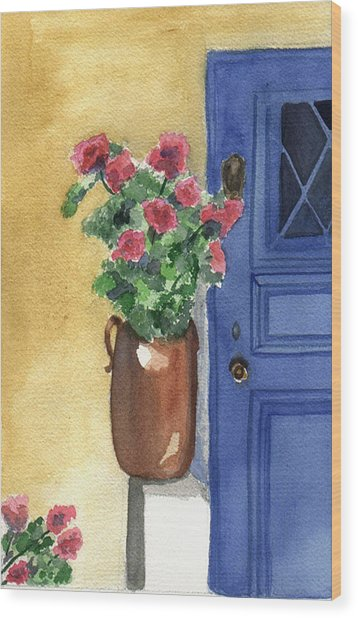 Wood Print featuring the painting Provence Door by Jane Croteau