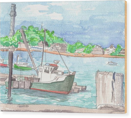 Provincetown Dock Wood Print by E Gibbons