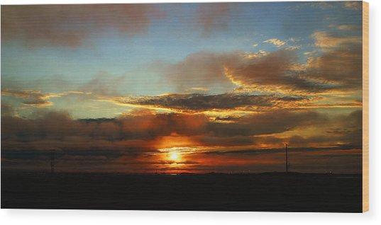 Prudhoe Bay Sunset Wood Print