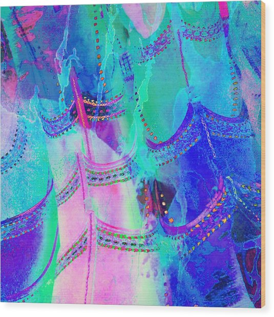 Psychedelic Blue Shoes Shopping Is Fun Abstract Square 4f Wood Print