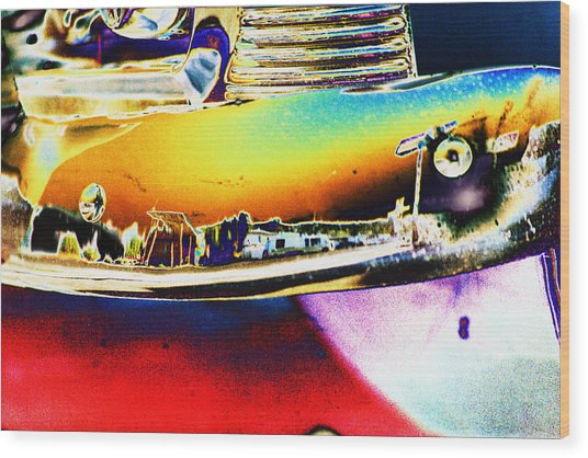 Psychedelic Chevy Bumper Wood Print by Richard Henne