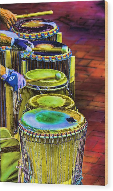Psychedelic Drums Wood Print