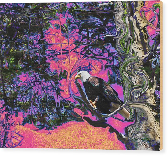 Psychedelic Eagle Wood Print by Wilbur Young