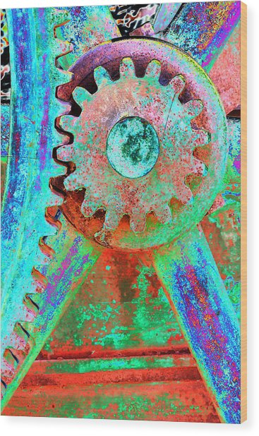 Psychedelic Gears Wood Print