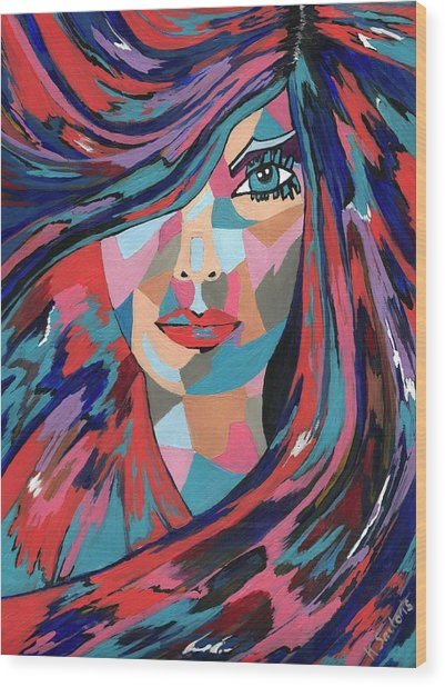 Psychedelic Jane - Contemporary Woman Art Wood Print